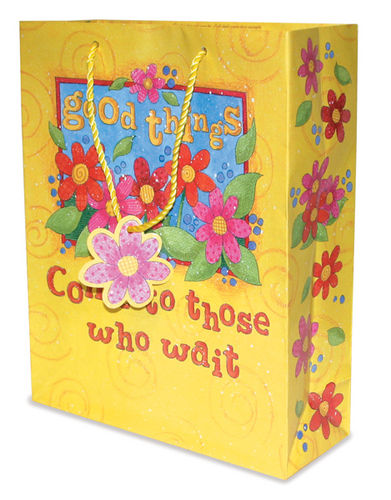 %27Good Things Come to Those who wait%27  Gift Bag gift bag, religious gift bag, sacramental gift bag, christian gift bag, 17306