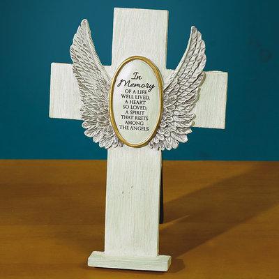 In Memory Standing Cross 56146T, memorial gift, memorial cross, standing cross, angel wing cross