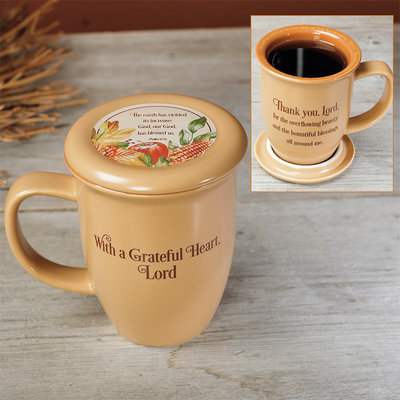 Greatful Heart Mug and Coaster Set 56895T,inspirational, mug, kitchen mug, message mug, coffee mug, tea mug, gift, thanksgiving, grateful, thanks gift
