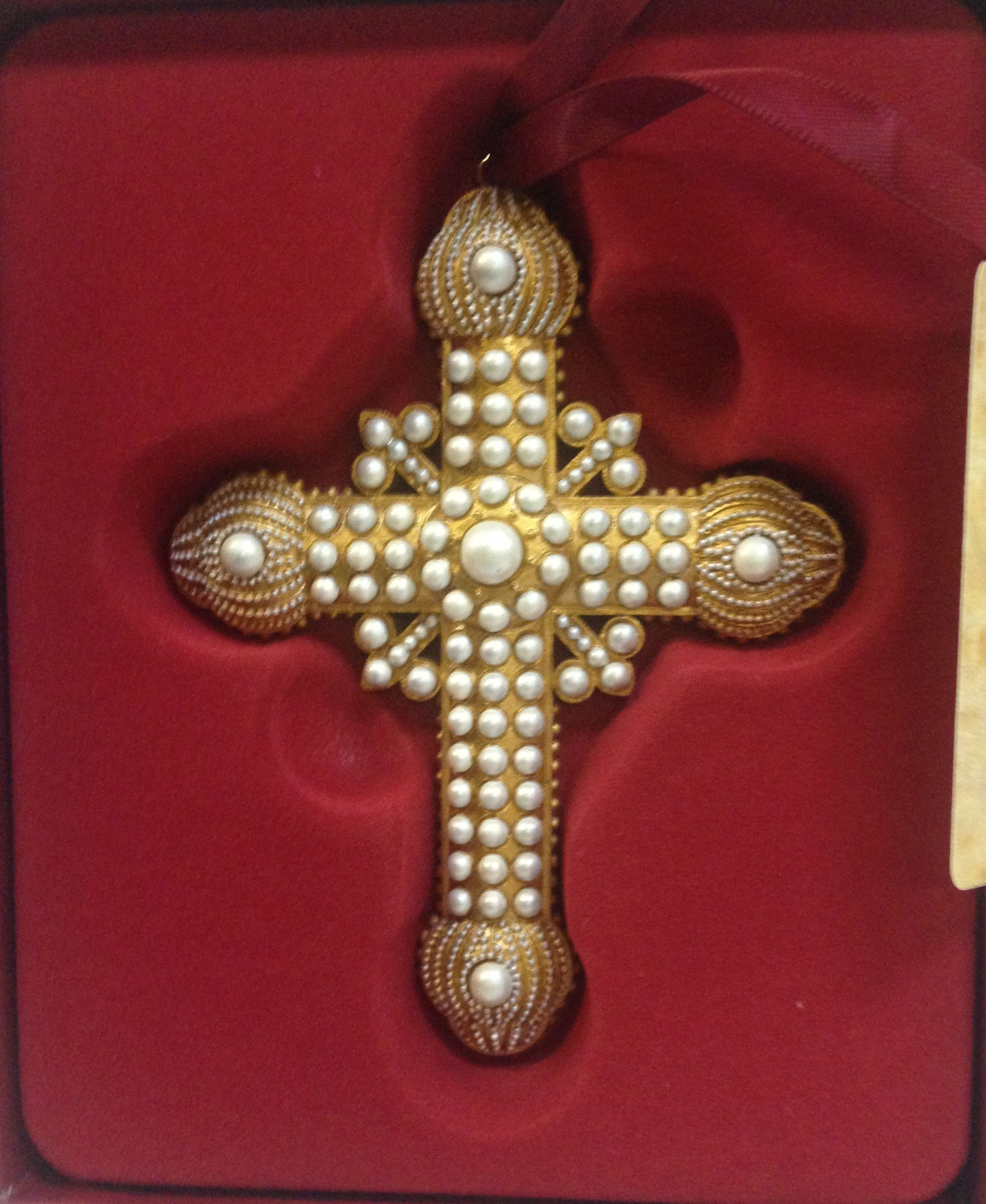 "4"" Pearl Cross Ornament ornament, pearl, cross, wall cross, home decor, 4024976"