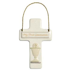 Mini First Communion  Hanger Cross  hanger cross, mini cross, ceramic cross, mini door hanger, first communion gift, sacramental gift, 4047224