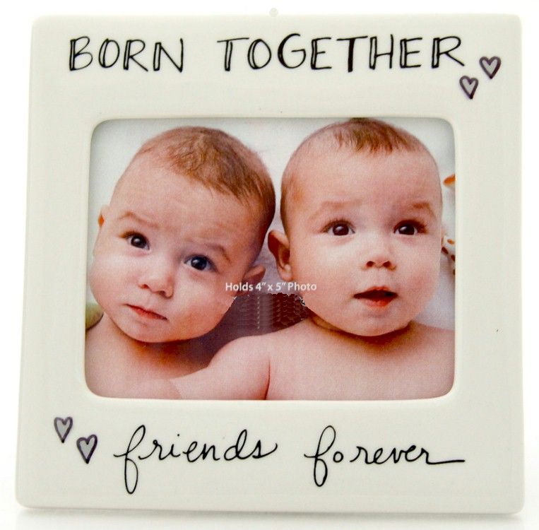 Born Together Ceramic Frame frame, photo holder, baby gift, twins, baby picture, baptism gift, 4048779