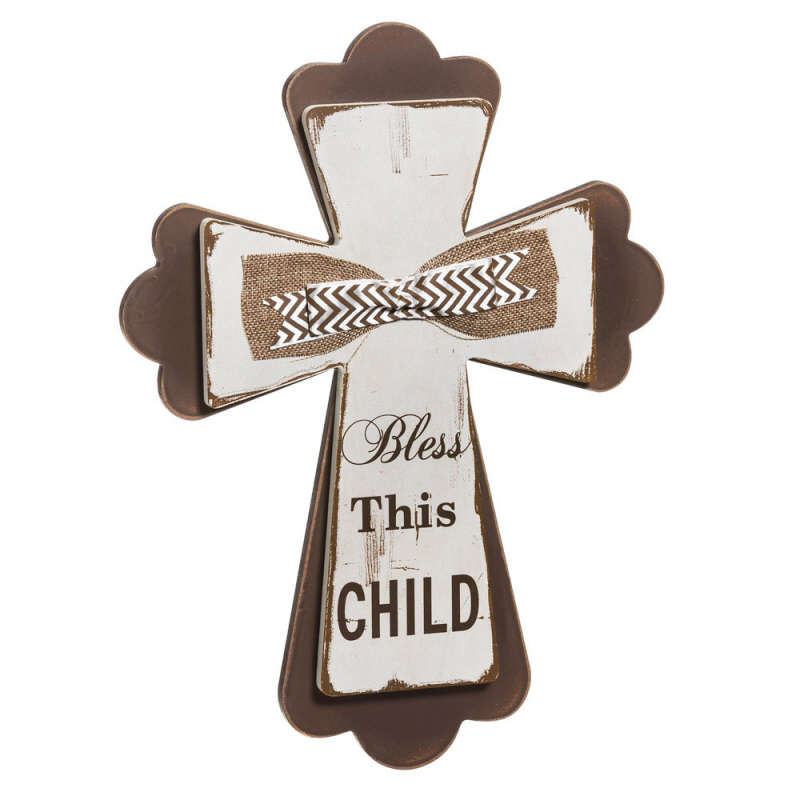 Bless This Child Wall Cross wall cross, wood cross, sacramental gift, baptism gift, christening gift, first communion gift, burlap ribbon, 9bwd005