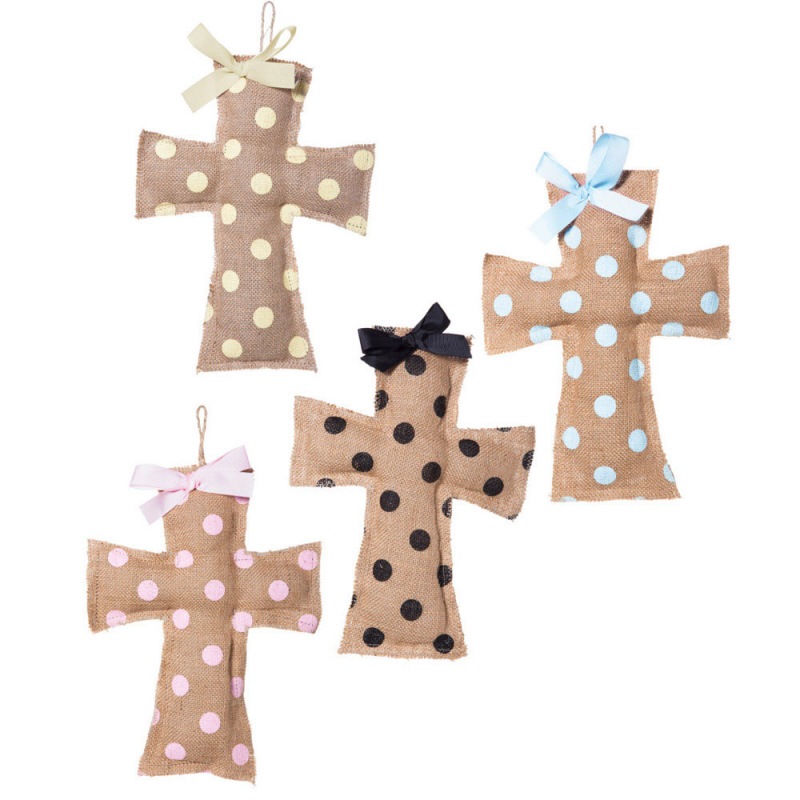 Assorted Burlap Wall Cross wall cross, burlap cross, polka dot cross, baptism cross, sacrametal cross, hanging cross, 9bwd031