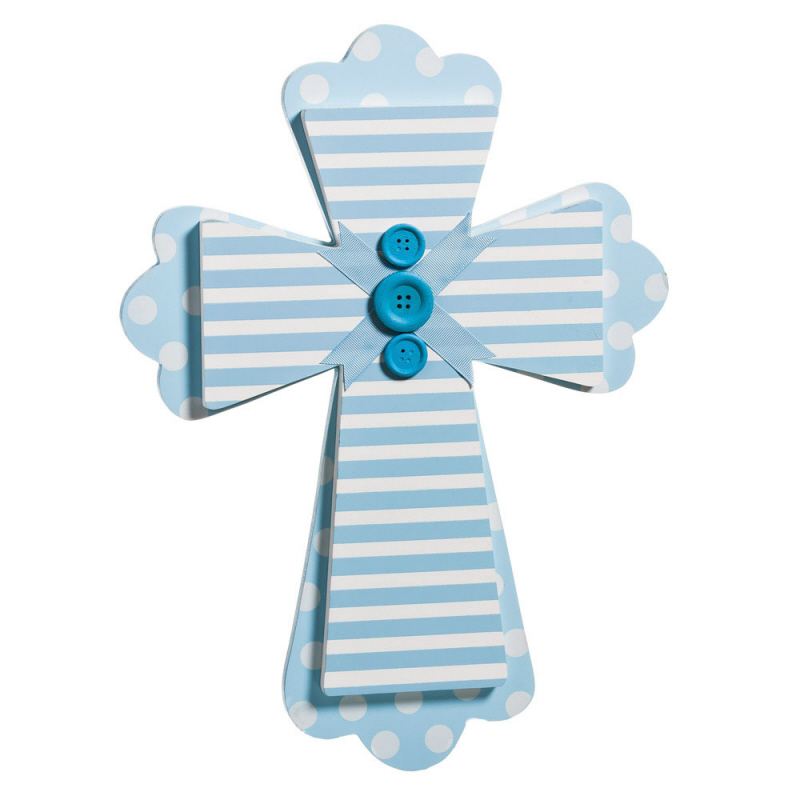 Blue Wall Cross wall cross, wood cross, sacramental gift, baptism gift, christening gift, first communion gift, blue cross, stripes, polka dots, ribbon,9BWD001