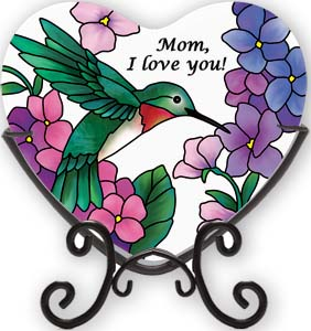 Mom I Love You  Glass Heart Plaque*WHILE SUPPLIES LAST* plaque, home decor,table decor,table plaque, glass plaque, inspirational gift, tealight holder, vmc213r, joan baker designs,heart plaque, mothers day, mom gift,