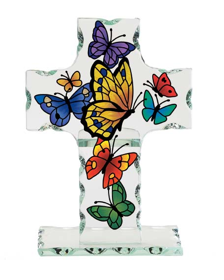 Glass Butterfly Cross plaque, home decor,table decor,table plaque, glass plaque, inspirational gift, cp3504r, joan baker designs,