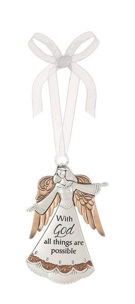 All Things Are Possible Ornament ornament, angel ornament, message oranment, silver, hanging angel, hanging ornament,ER47053