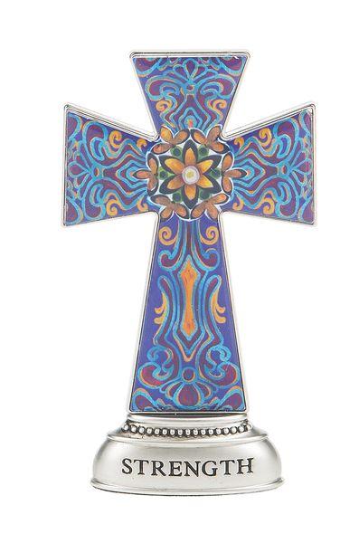 Strength Cross Figurine cross plaque, wall plaque, cross, colorful cross, message cross,standing cross, cross figures,ER46765