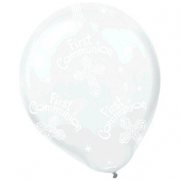 """12"""" Communion Printed Balloons first communion decorations, first communion party supplies, sacramental decorations, communion party, paper products, party supplies, balloon, white balloon,110065"""