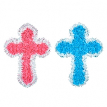 Assorted Tinsel Crosses first communion decorations, first communion party supplies, sacramental decorations, communion party, paper products, party supplies, cross decorations, pink cross, blue cross, tinsel cross, 248482.99