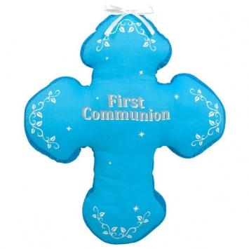 """13""""First Communion Blue Autograph Pillow first communion decorations, first communion party supplies, sacramental decorations, communion party, paper products, party supplies, pillow, autograph pillow, blue pillow,210242"""