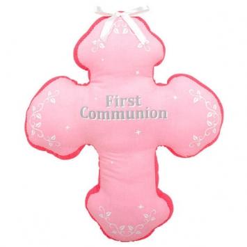 """13""""First Communion Pink Autograph Pillow first communion decorations, first communion party supplies, sacramental decorations, communion party, paper products, party supplies, pink pillow, autograph pillow, cross pillow,210241"""