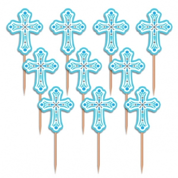 "2.5"" Blue Cross Cupcake Picks first communion decorations, first communion party supplies, sacramental decorations, communion party, paper products, party supplies, picks, cupcake picks, cross picks, party picks, blue cross,400082"