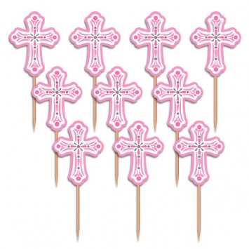"2.5"" Pink Cross Cupcake Picks first communion decorations, first communion party supplies, sacramental decorations, communion party, paper products, party supplies, picks, cupcake picks, cross picks, party picks, pink cross,400081"