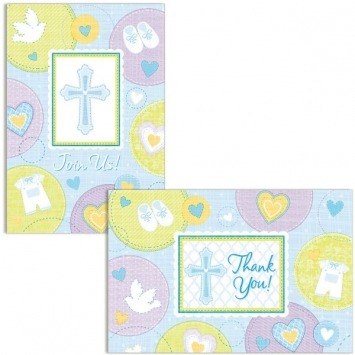 Sweet Christening Blue Invitations and Thank You Cards first communion decorations, first communion party supplies, sacramental decorations, communion party, paper products, party supplies, invitaions and thank you, blue thank you cards, blue invitations, sacramental party invites and thank you,489423
