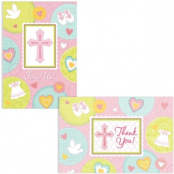 Sweet Christening Pink Invitations and Thank You Cards first communion decorations, first communion party supplies, sacramental decorations, communion party, paper products, party supplies, invitaions and thank you, pink thank you cards, pink invitations, sacramental party invites and thank you,489422