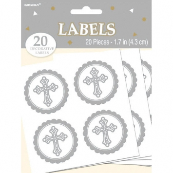Circular Cross Labels first communion decorations, first communion party supplies, sacramental decorations, communion party, paper products, party supplies, cross labels, party favors, letter labels,150067