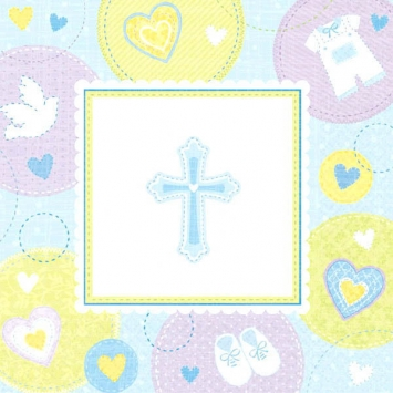 Sweet Christening Blue Beverage Napkins first communion decorations, first communion party supplies, sacramental decorations, communion party, paper products, party supplies, napkins, beverage napkins, blue napkins,509423