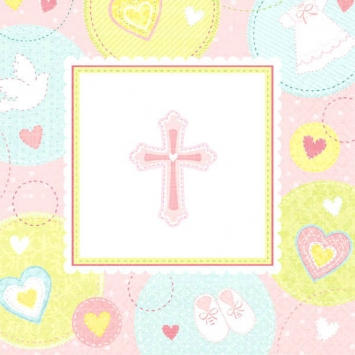 Sweet Christening Pink Beverage Napkins first communion decorations, first communion party supplies, sacramental decorations, communion party, paper products, party supplies, napkins, beverage napkins, pink napkins,509422