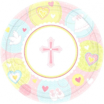 Sweet Christening Pink Dessert Plates first communion decorations, first communion party supplies, sacramental decorations, communion party, paper products, party supplies, plates, small plates, dessert plates, pink plates,549422