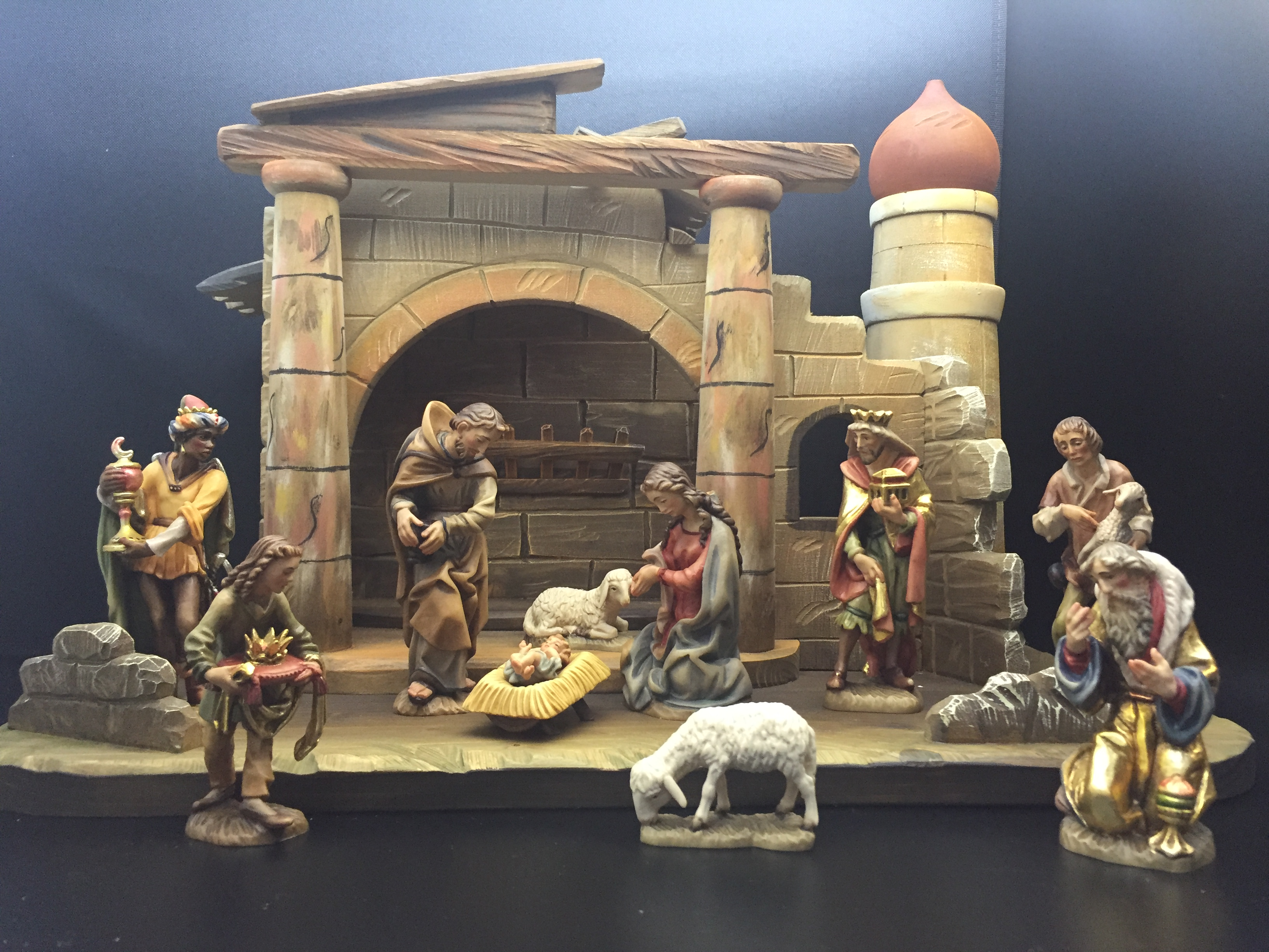 "Anri? Wood Carved Nativity 5"" 10pc Figures with Stable Anri® Wood Carved Nativity 5"" Figures with Stable, ANRI, wood, woodcarved, nativity, italy, creche, krippe,bacher,"