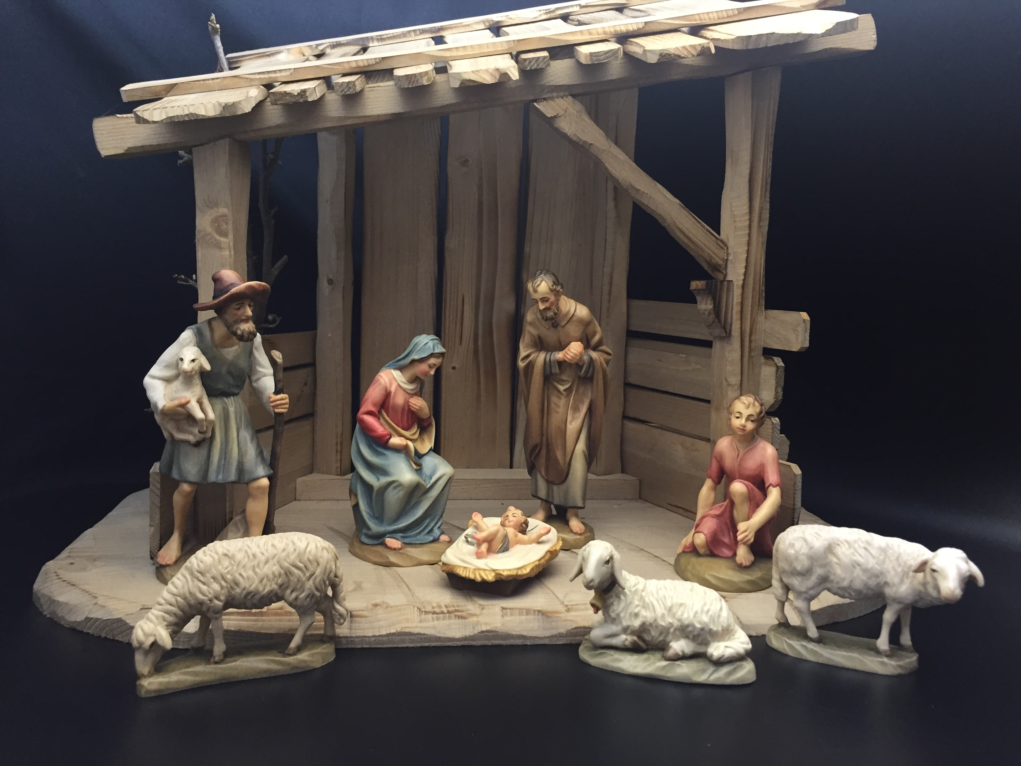 "Anri® Wood Carved Nativity 6"" 8pc Figures with Stable Anri® Wood Carved Nativity 6"" Figures with Stable, ANRI, wood, woodcarved, nativity, italy, creche, krippe, kuolt"