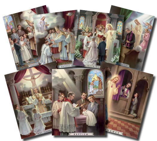 The Seven Sacraments Lithographs seven sacrament, prayer pictures, classroom prints, teachers tools, wall hangings, pos-1477