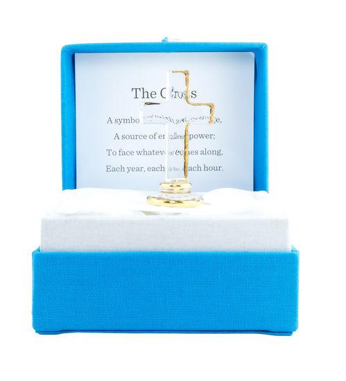 Glass Cross Messenger 184702, messenger colorburst, glass trinket, box gift, message box, inspirational gift, glass gift, cross gift, glass gift, glass cross