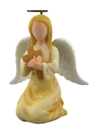Faithful Guardians Confirmation Angel 130368, figurine, angel figure, inspirational gift, angel statue, ceramic figure,confirmation angel, kneeling angel, angel with cross