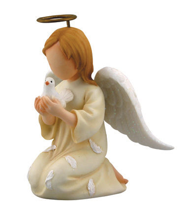 Faithful Guardians Communion Angel 130369, figurine, angel figure, inspirational gift, angel statue, ceramic figure, communion angel, girl angel, kneeling angel