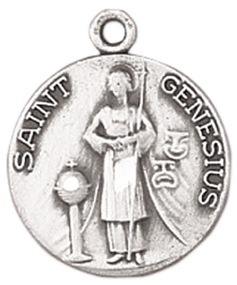 St. Genesius Medal on Chain patron saint necklace, sterling silver necklace, pendant on chain, round medal, patron of actors and comedians, jewelry, gift, jc-100/mfts