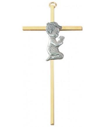 Kneeling Boy Wall Cross wall cross, boy cross, baptism cross, baptism gift, new baby gift, brass cross, pewter cross, JC-1055-E
