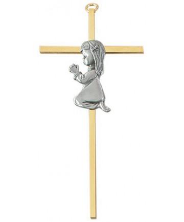 Brass Girl Cross wall cross, boy cross, baptism cross, baptism gift, new baby gift, brass cross, pewter cross, JC-1057-E