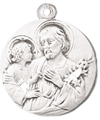 St. Joseph Medal on Chain patron saint necklace, sterling silver necklace, pendant on chain, round medal,  jewelry, gift, jc-111/1mft, patron saint of carpenters, doubt, dying, families, hesitation, married couples,