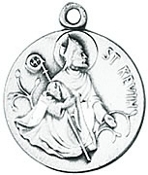 St. Kevin Medal on Chain patron saint necklace, sterling silver necklace, pendant on chain, round medal,  jewelry, gift, jc-113/1mft, patron saint long life