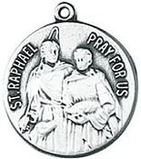 St. Raphael Medal on Chain patron saint necklace, sterling silver necklace, pendant on chain, round medal,  jewelry, gift, jc-128/1mft, blindness, druggists, nurses, safe journey