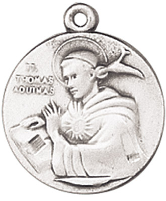 St. Thomas Aquinas Medal on Chain patron saint necklace, sterling silver necklace, pendant on chain, round medal,  jewelry, gift, jc-136/1mft, patron saint catholic universities, pencil makers, schools, theologians