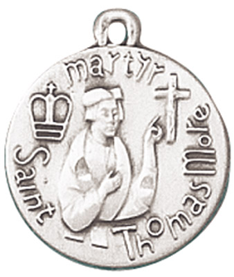 St. Thomas More Pendant with Chain patron saint necklace, sterling silver necklace, pendant on chain, round medal,  jewelry, gift, jc-137/1mft, patron saint adopted children, court worker, difficult marrianges stepparents