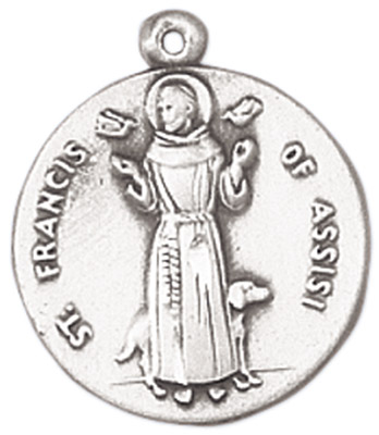 St. Francis Medal on Chain patron saint necklace, sterling silver necklace, pendant on chain, round medal,  jewelry, gift, jc-149/1mft, patron saint of animals, birds, fire merchants, solitary death