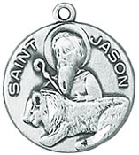 St. Jason Medal on Chain patron saint necklace, sterling silver necklace, pendant on chain, round medal,  jewelry, gift, jc-154/1mft, patron of converts