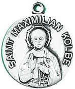 St. Maximilian Kolbe Medal on Chain patron saint necklace, sterling silver necklace, pendant on chain, round medal,  jewelry, gift, jc-156/1mft, patron saint of difficult century, addicts,