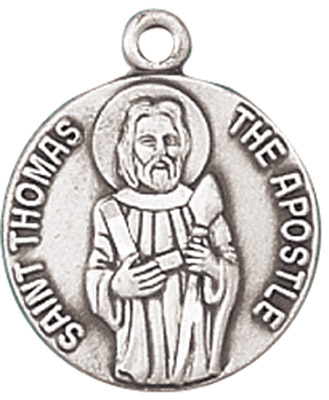 St. Thomas the Apostle Medal on Chain patron saint necklace, sterling silver necklace, pendant on chain, round medal,  jewelry, gift, jc-459/1mft, patron saint against doubt, blind people, construction workers
