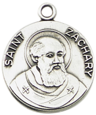 St. Zachary Medal on Chain patron saint necklace, sterling silver necklace, pendant on chain, round medal,  jewelry, gift, jc-471/1mft, told of the coming messiah