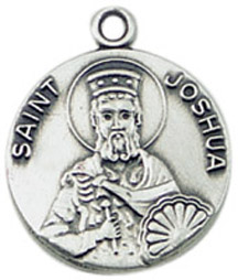 St. Joshua Medal on Chain patron saint necklace, sterling silver necklace, pendant on chain, round medal,  jewelry, gift, jc-476/1mft, patron saint of those named joshua