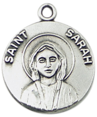 St. Sarah Medal on Chain patron saint necklace, sterling silver necklace, pendant on chain, round medal,  jewelry, gift, jc-484/1mft, patron saint infertility