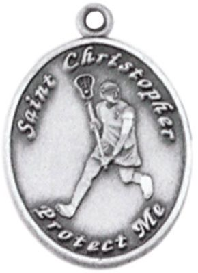 St. Christopher Sports Medal-Women%27s Lacrosse sports medal, lacrosse medal, womens lacrosse, st christopher, jc-741/imft