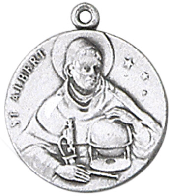 St. Albert Medal on Chain patron saint necklace, sterling silver necklace, pendant on chain, round medal,  jewelry, gift, jc-80/1mft, patron medical technologist, scientist,