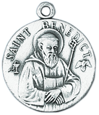 St. Benedict Medal on Chain patron saint necklace, sterling silver necklace, pendant on chain, round medal,  jewelry, gift, jc-85/1mft, patron saint of homeless, monks, poisoning,