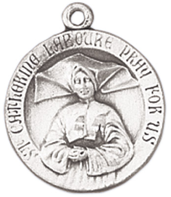 St. Catherine Laboure Medal on Chain patron saint necklace, sterling silver necklace, pendant on chain, round medal,  jewelry, gift, jc-89/1mft, miraculous medal